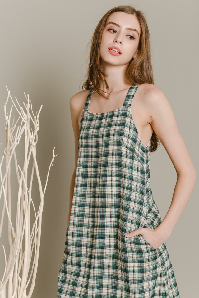 Elen Dress Green Plaids
