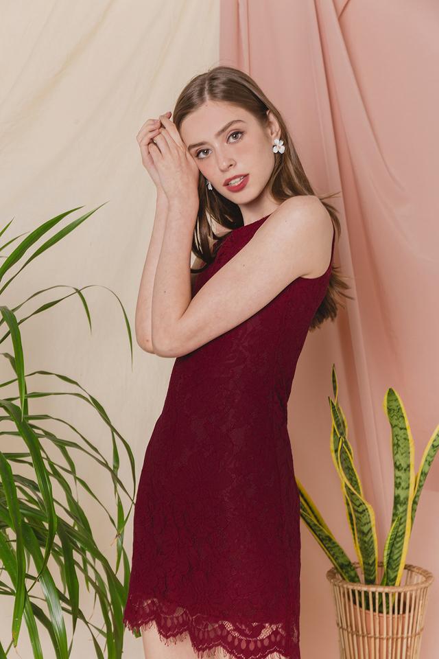 Allyson Lace Dress Wine