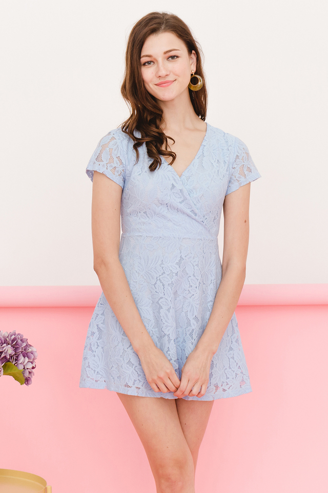 Wallis Lace Dress Light Blue