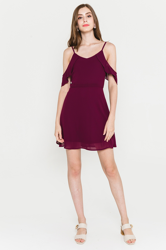 Saffron Dress Burgundy