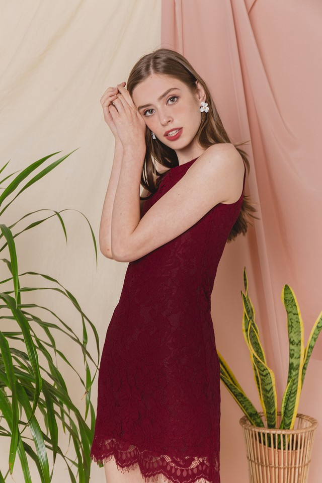 Allyson Lace Dress Wine