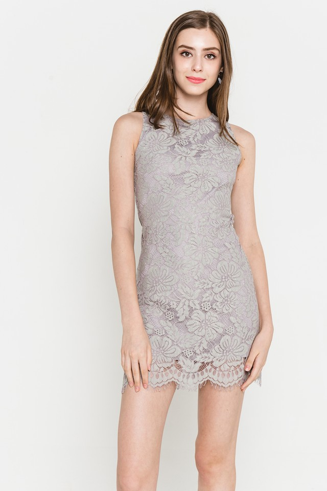 Allyson Lace Dress Grey
