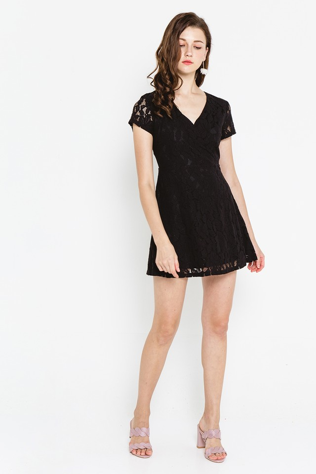 Wallis Lace Dress Black