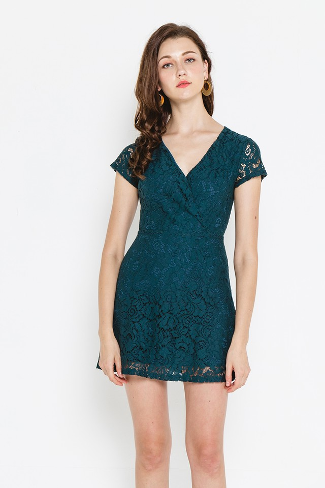 Wallis Lace Dress Forest