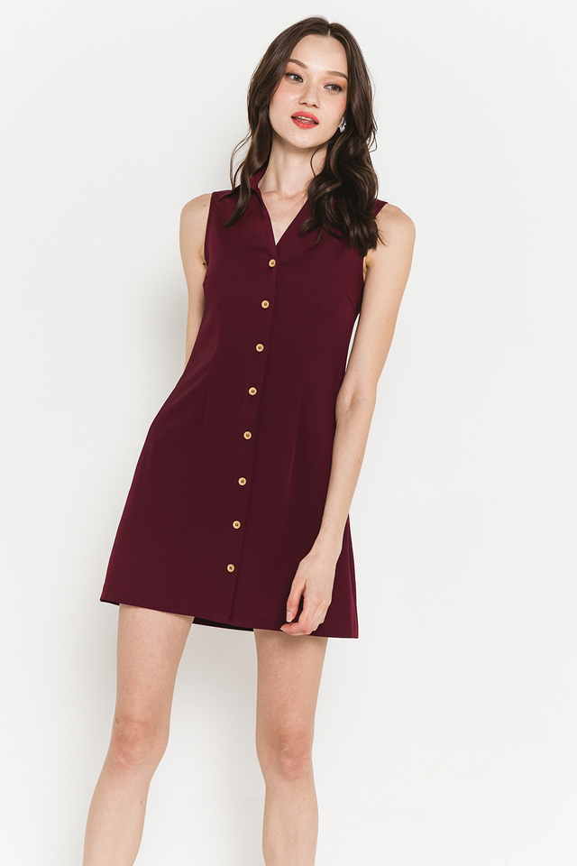 Mavis Shirtdress Burgundy