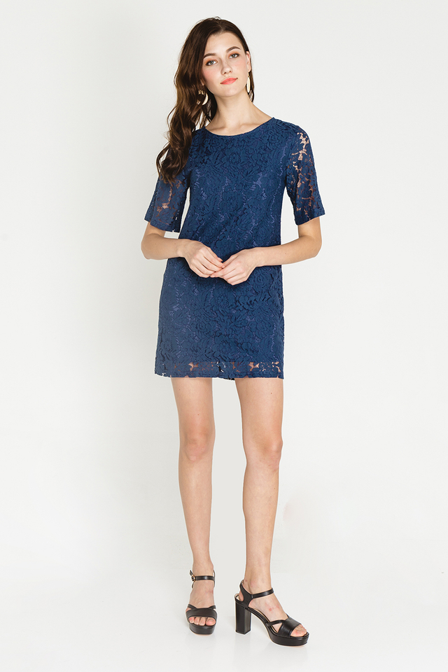 Trina Lace Dress Navy