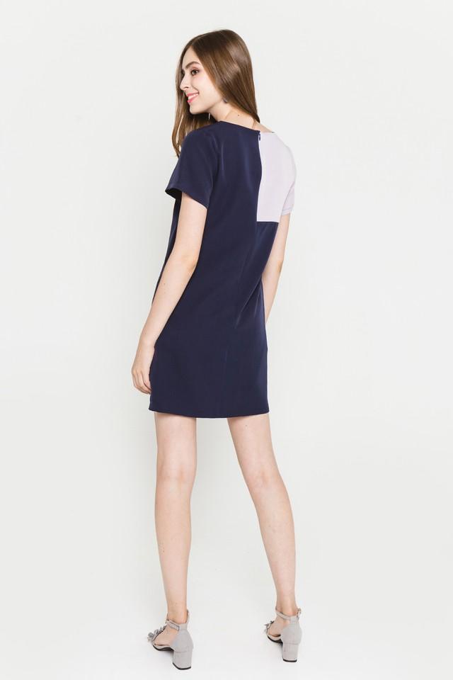 Raven Colourblock Dress Navy