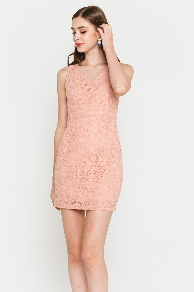 Griselda Lace Dress Coral