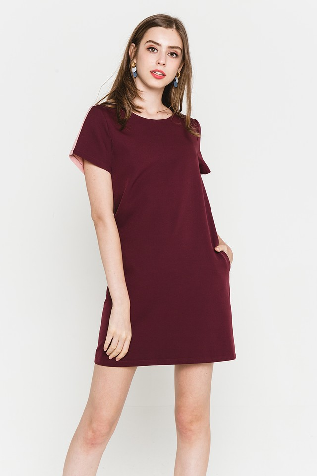Raven Colourblock Dress Burgundy