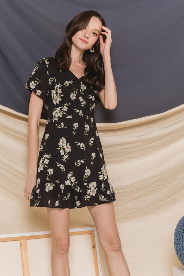 Quiana Dress Black Floral