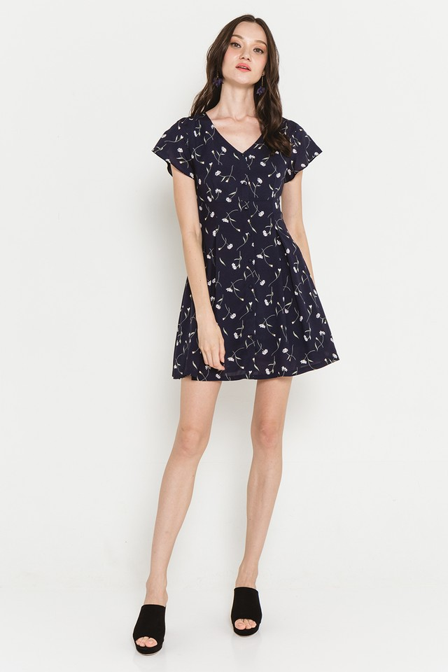 Racquel Dress Navy Floral