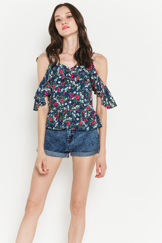 Hetty Top Navy Floral