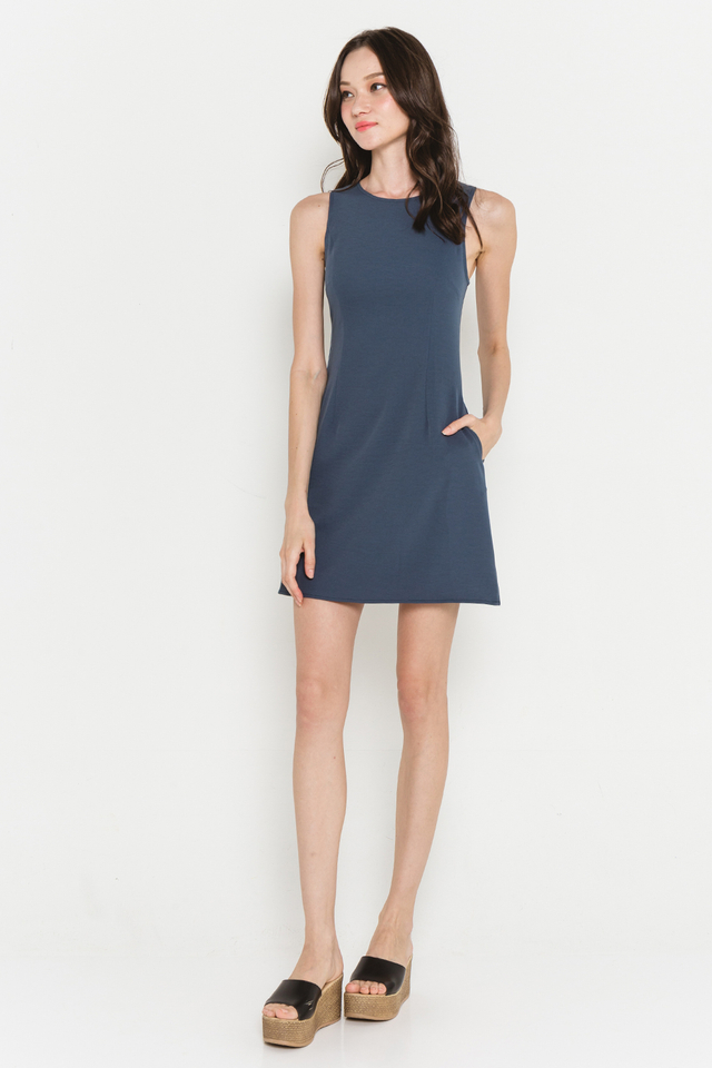 Theia Dress Cyan Blue