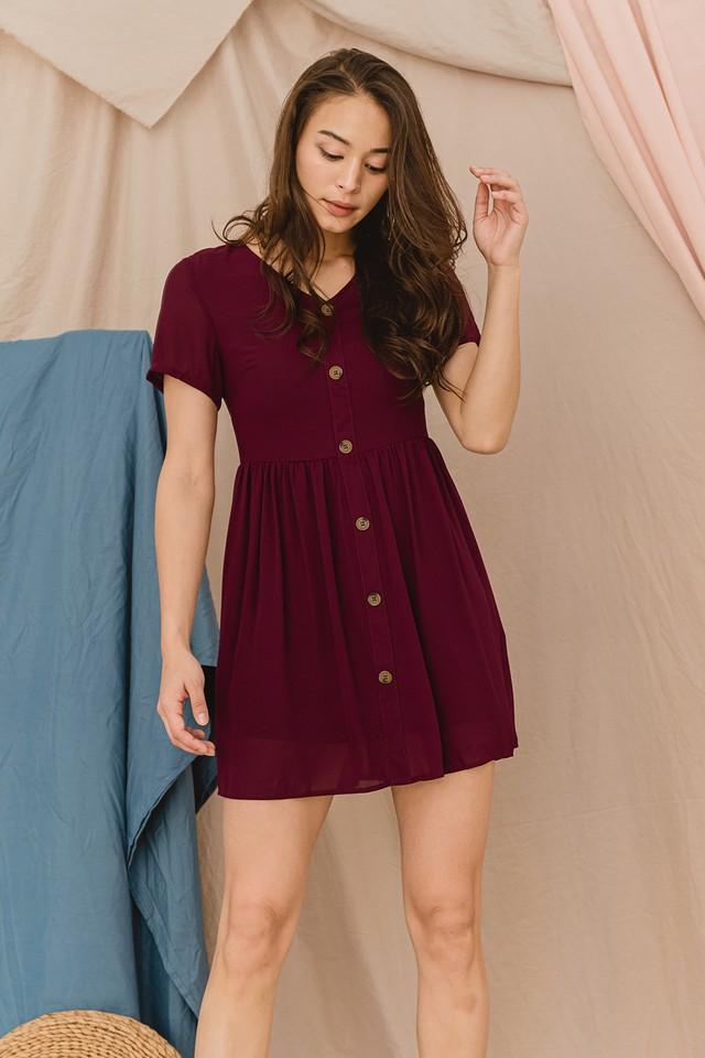 Verna Dress Maroon