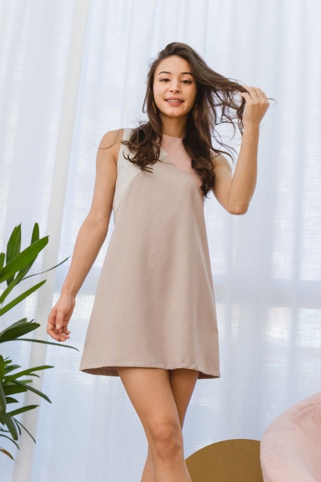 Rumer Colourblock Dress Light Grey/Pink/White