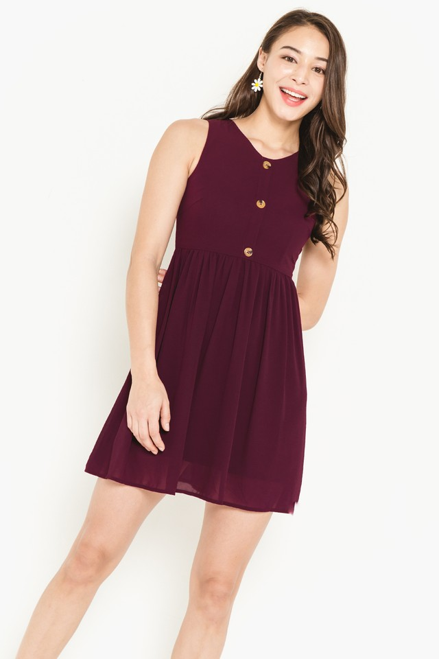 Leena Dress Burgundy