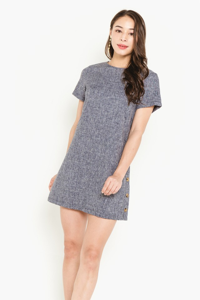 Thelma Dress Navy Tweed