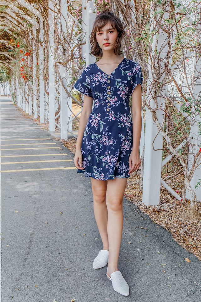 Marcelia Dress Navy Floral