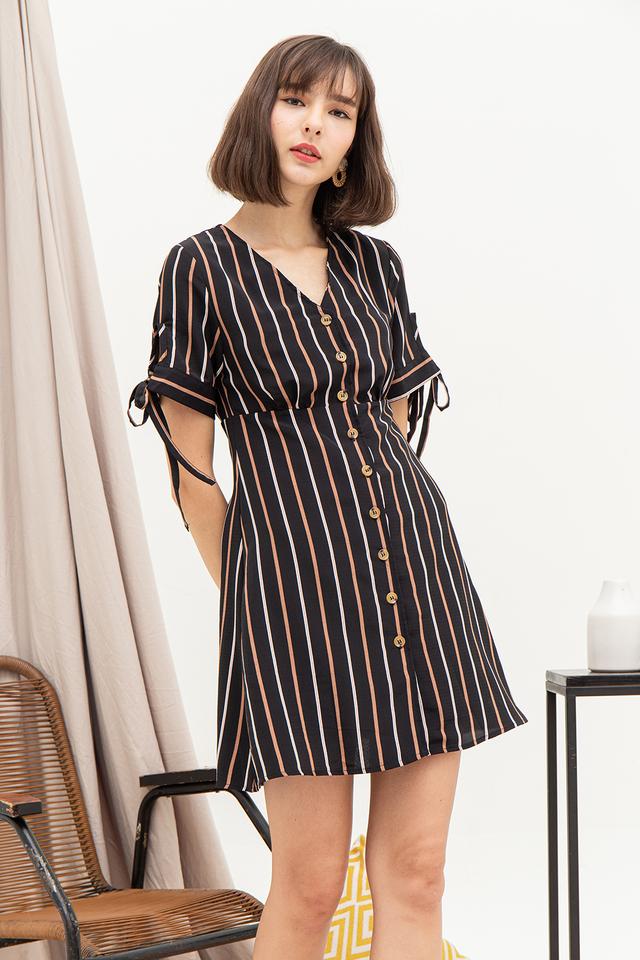 Frida Dress Black Stripes