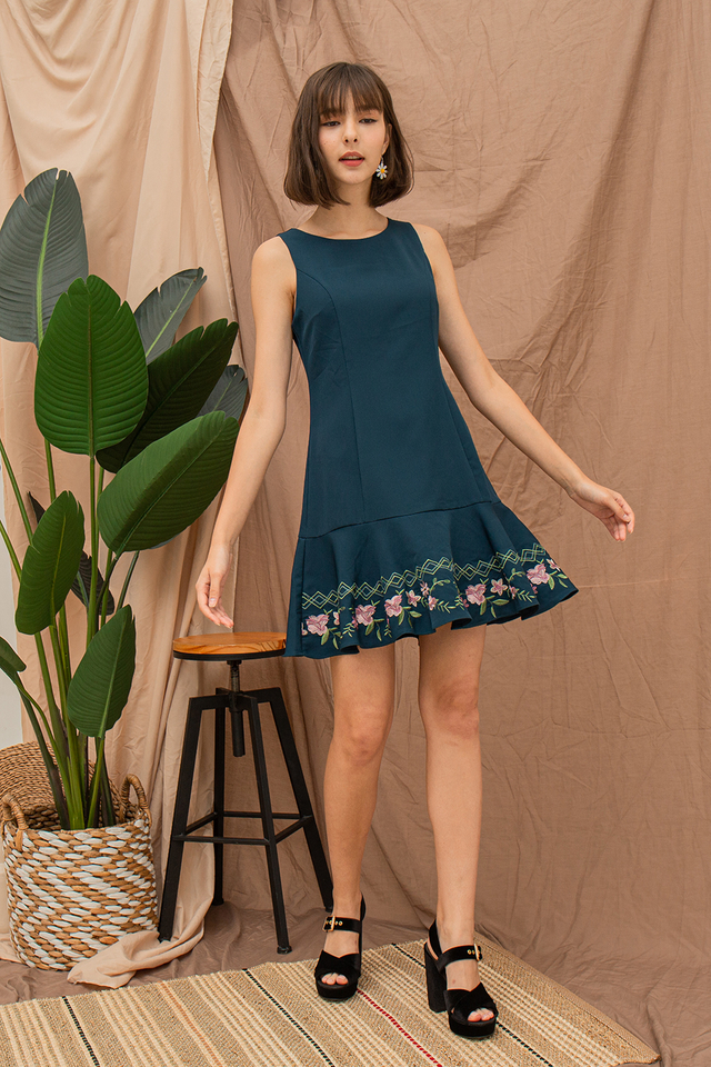 Daina Embriodery Dress Forest