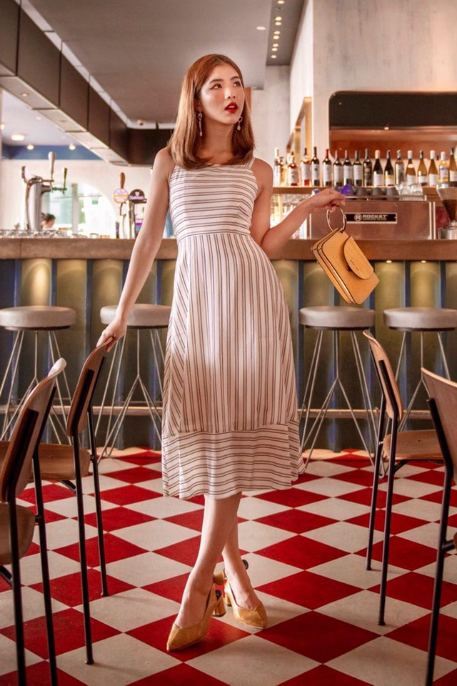 Lana Dress White Stripes