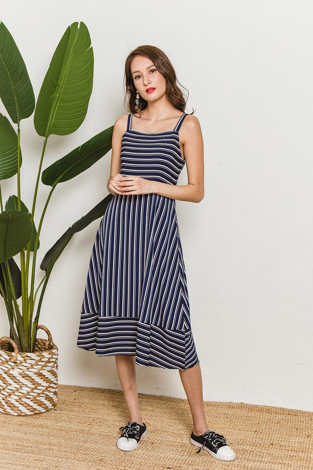 Lana Dress Navy Stripes