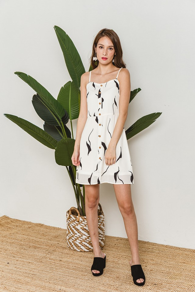 Ginger Dress White Abstract