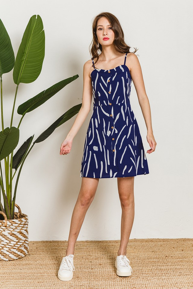 Ginger Dress Navy Abstract