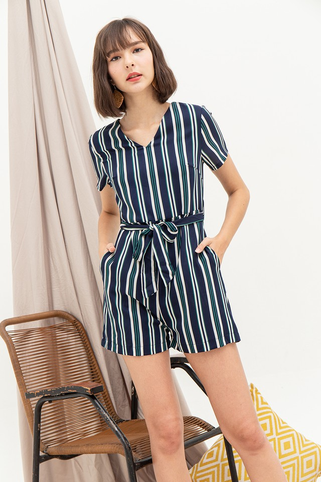 Evita Playsuit Navy Stripes