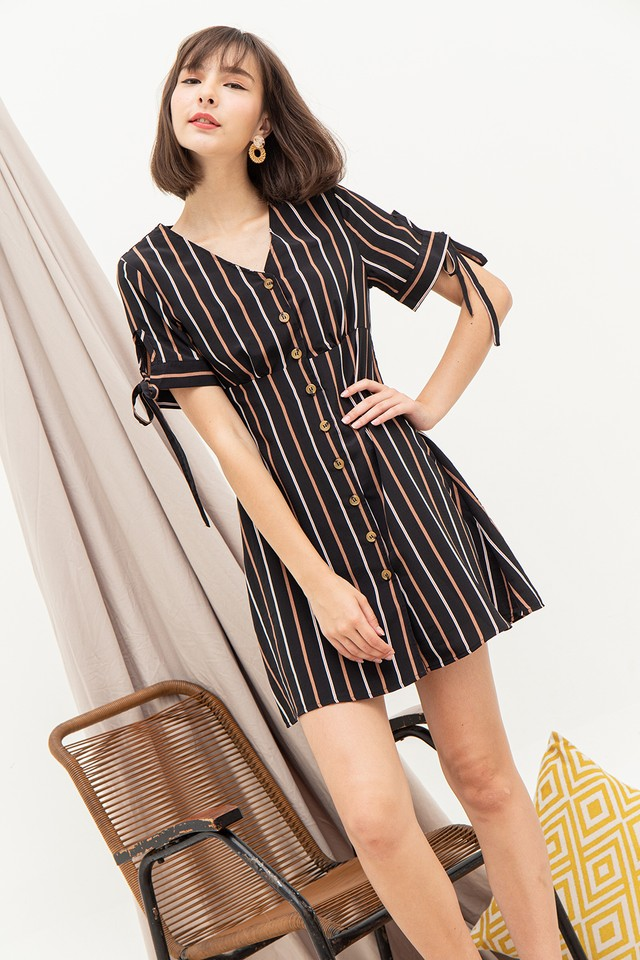 Frida Dress Black Stripes
