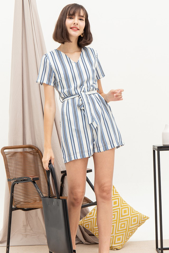Evita Playsuit White Stripes