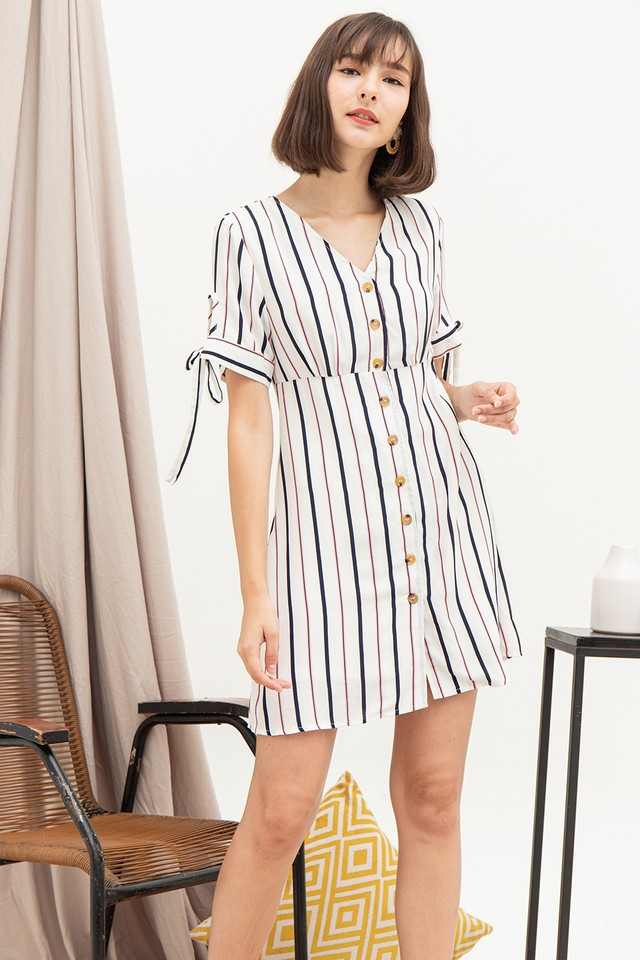 Frida Dress White Stripes