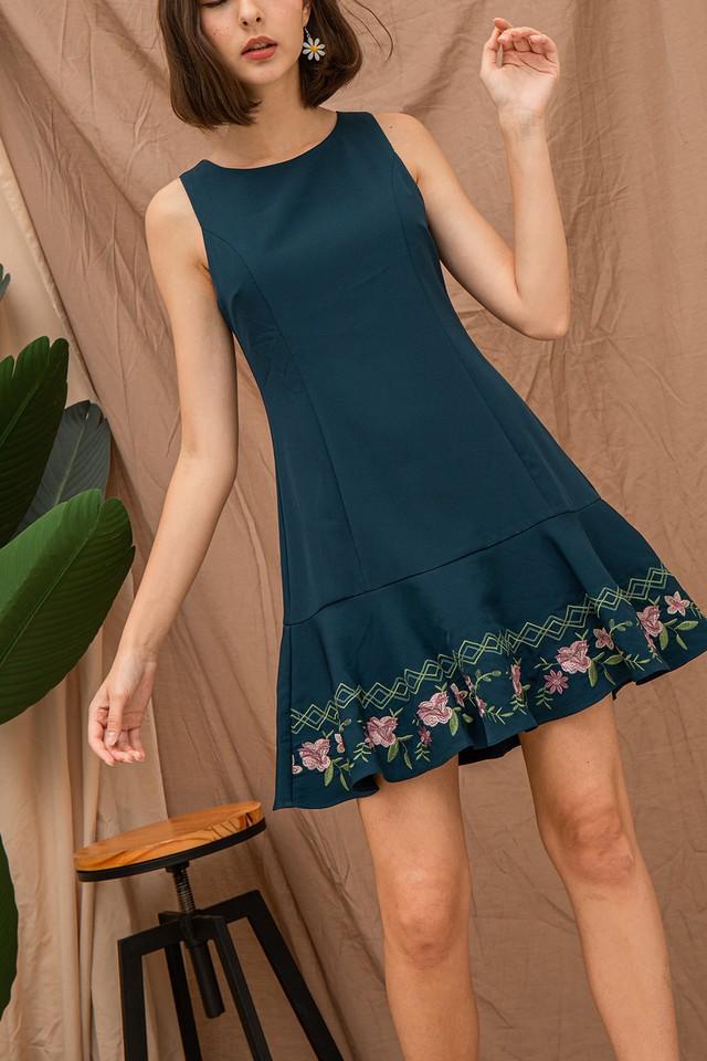 Daina Embriodery Dress Forest