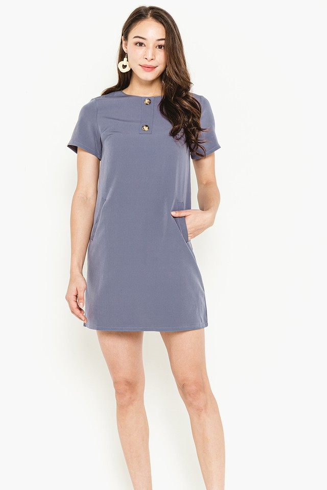 Myrna Dress Ash Blue