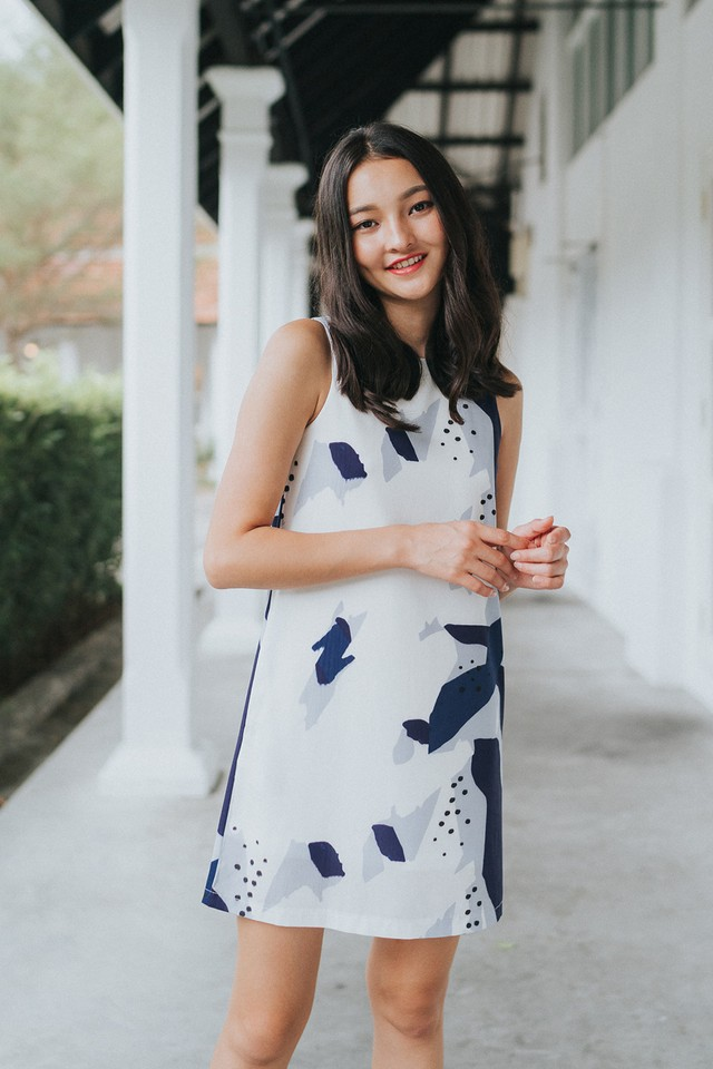 Simone Abstract Dress Navy/Grey