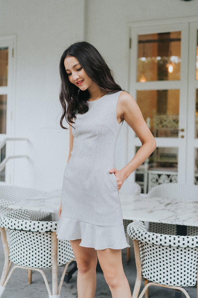 Lavinia Dress Light Grey Tweed