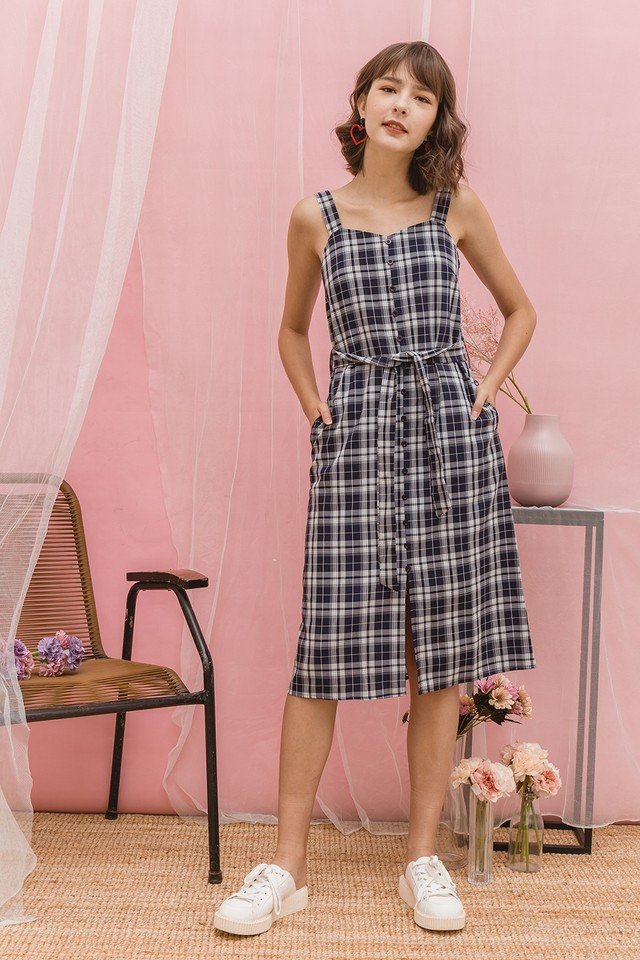 Dabria Dress Navy Checks