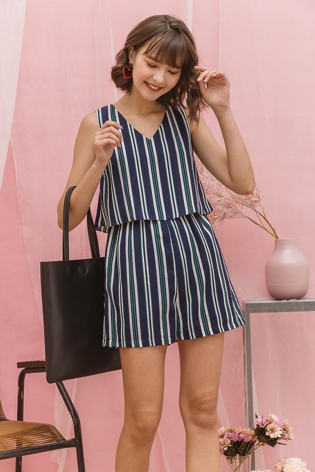Lora Playsuit Navy Stripes