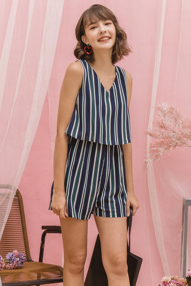Lora Playsuit Navy Stripes