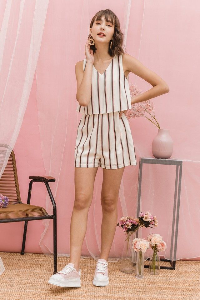Lora Playsuit White Stripes