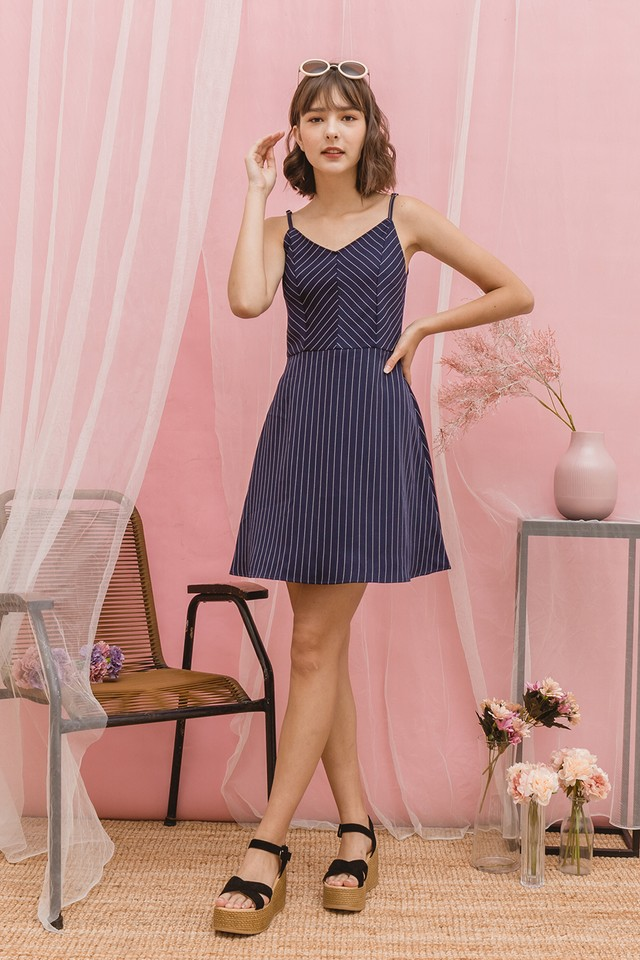 Sorrel Dress Navy Stripes