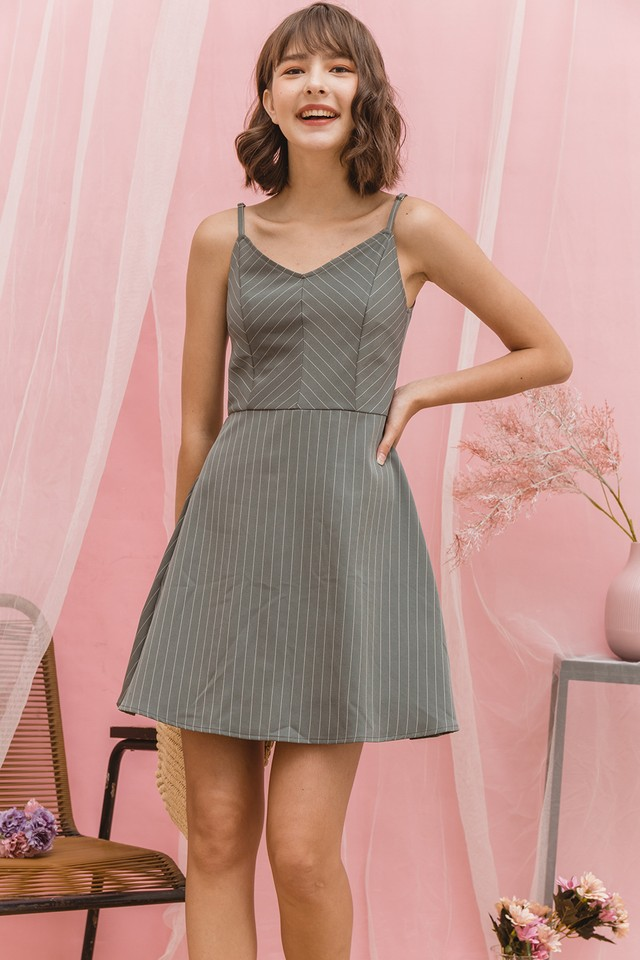 Sorrel Dress Grey Stripes