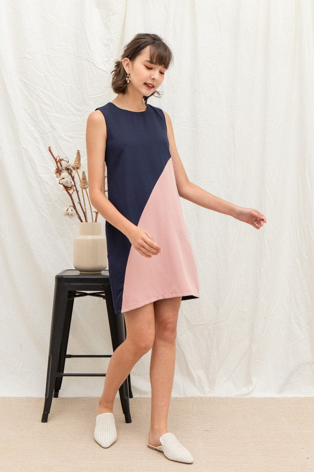 Melvina Dress Navy/Pink