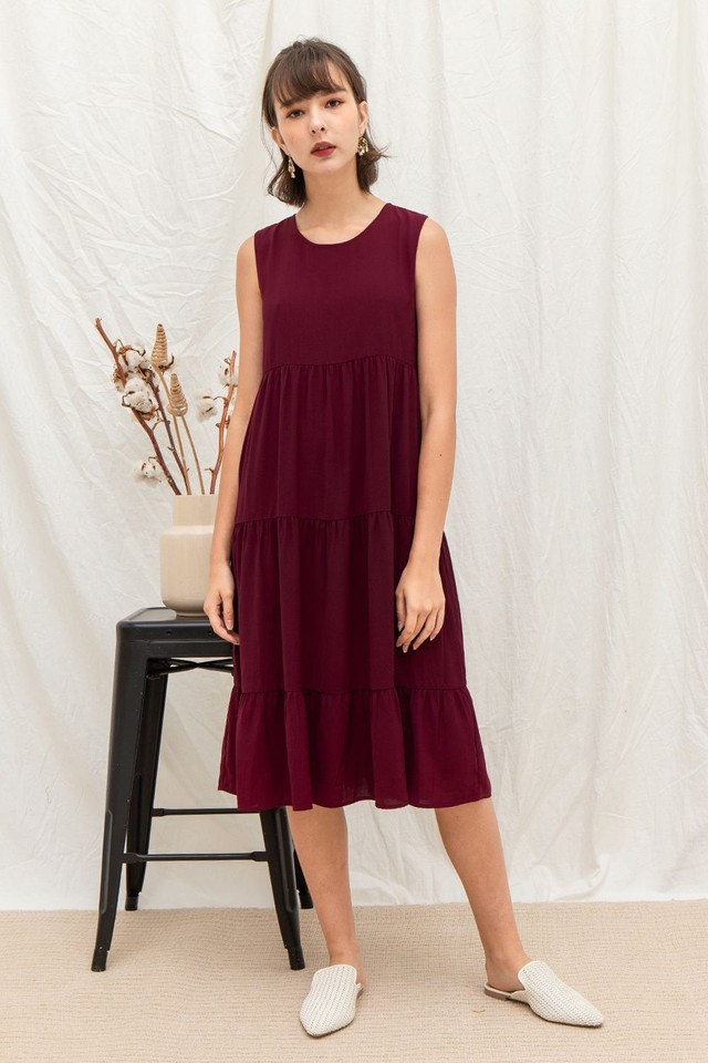 Loretta Dress Maroon