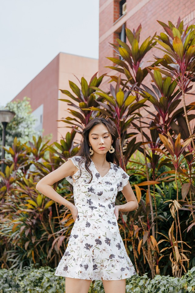 Lucille Dress White Floral