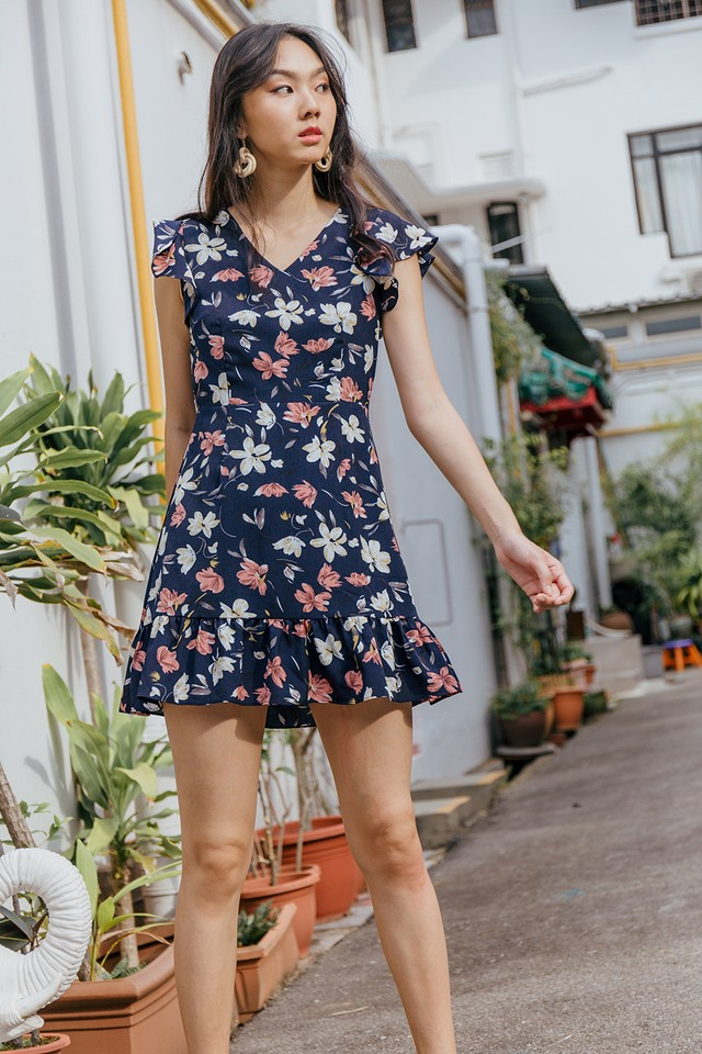 Lucille Dress Navy Floral