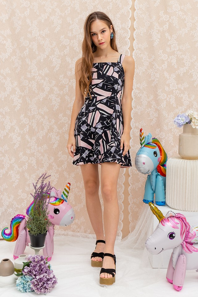 Kalia Dress Black Abstract