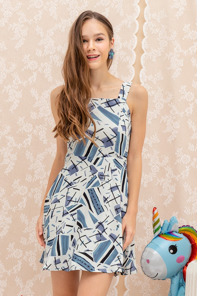 Kalia Dress White Abstract