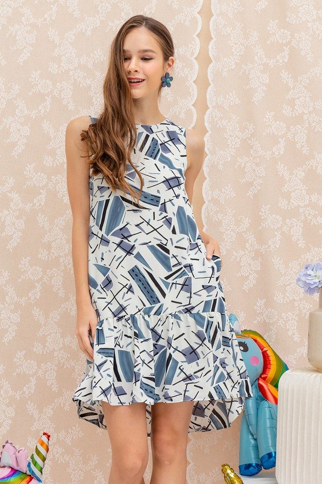 Talitha Dress White Abstract