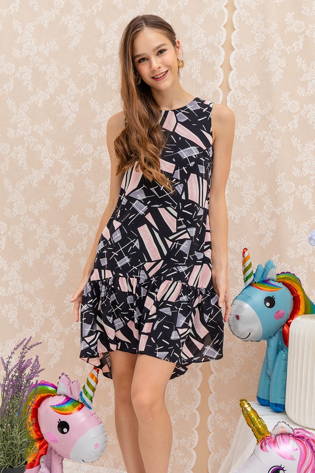 Talitha Dress Black Abstract